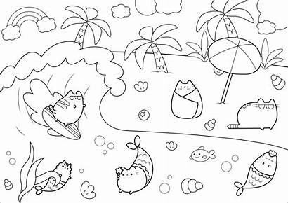 Pusheen Coloring Pages Sea Cat Adults Water