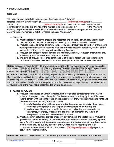 artist band contract template pack musiclawcontracts