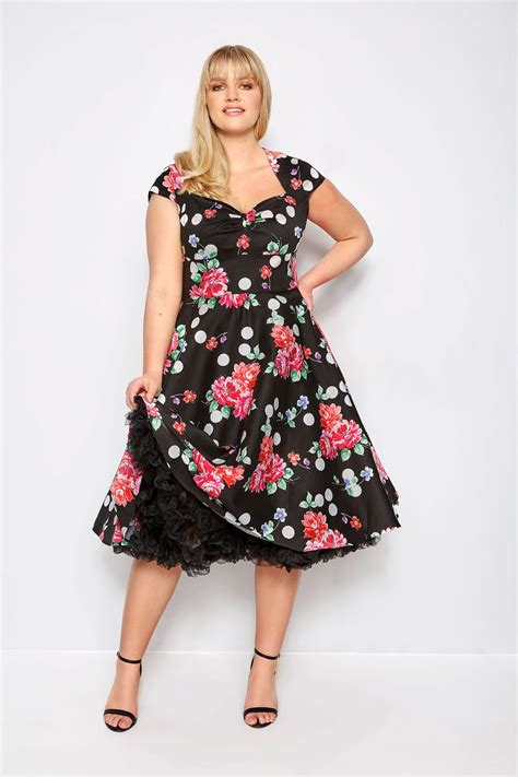 Plus Size Hell Bunny Black Floral And Spot Carole Dress