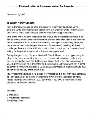 letter of recommendation for coworker 6 sle recommendation letter for coworkers pdf word