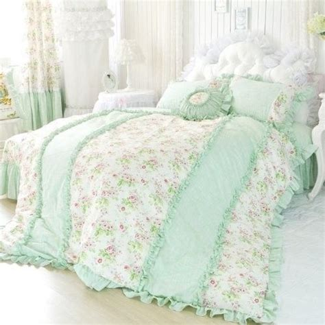 pale green ruffles with tea roses made for a princess bedding pinterest