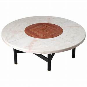 jan vlug rare large coffee table with round marble top for With large marble top coffee table