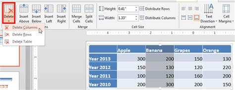 Table Within A Table by Add And Remove Table Rows Columns In Powerpoint 2013 For