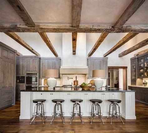 gooseneck kitchen faucets country kitchen with rustic wood ceiling beams country