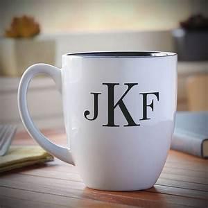 Classic, Monogram, Personalized, Coffee, Mug, White