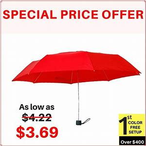 43 Inch Arc Customized Manual Folding Umbrellas