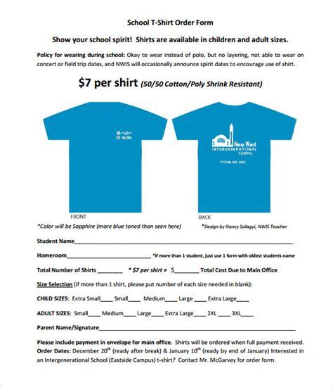 shirt order form templates
