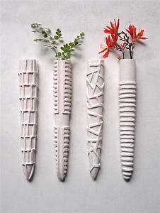 Pair wall planters, mid-century modern sculpture Taper ...