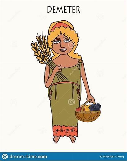 Demeter Goddess Cartoon Greek Ancient Fertility Harvest