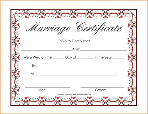 Marriage Certificate Template by Blank Marriage Certificate Templatereference Letters Words