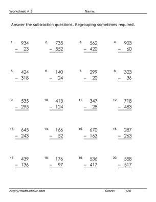 2nd grade math worksheet 3 digit subtraction with regrouping practice 3 digit subtraction with these free math