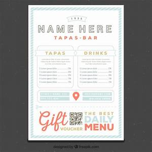 restaurant menu template in retro style vector free download With tapas menu template