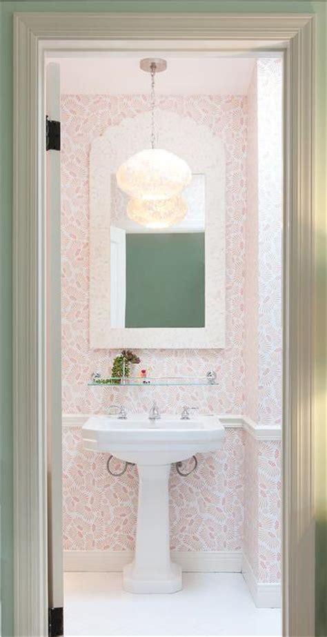 coral pink powder room  cream bone inlay mirror