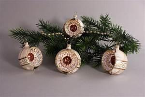 Weihnachtskugeln Glas Lauscha : 4 reflexkugeln 6 cm eis champagner mit braun ~ A.2002-acura-tl-radio.info Haus und Dekorationen