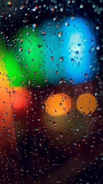Iphone Rain Rainy Wallpapers Glass Colorful Phone