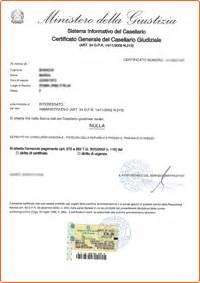 certificato generale casellario giudiziale evisura
