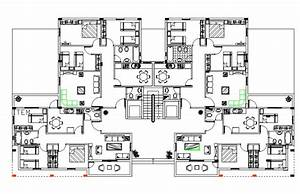 3, Bhk, Apartment, Cluster, Layout, Plan, With, Furniture, Drawing, Autocad, File
