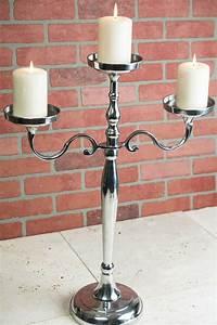 Pillar, Candle, Holder, 3, Arm, 26in, Silver, Candelabra