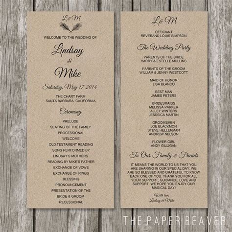 wedding program template booklet rustic wedding program kraft wedding ceremony program order of service for vintage country