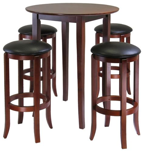 bistro table and 4 chairs winsome wood fiona 5 piece round high pub table set w pvc