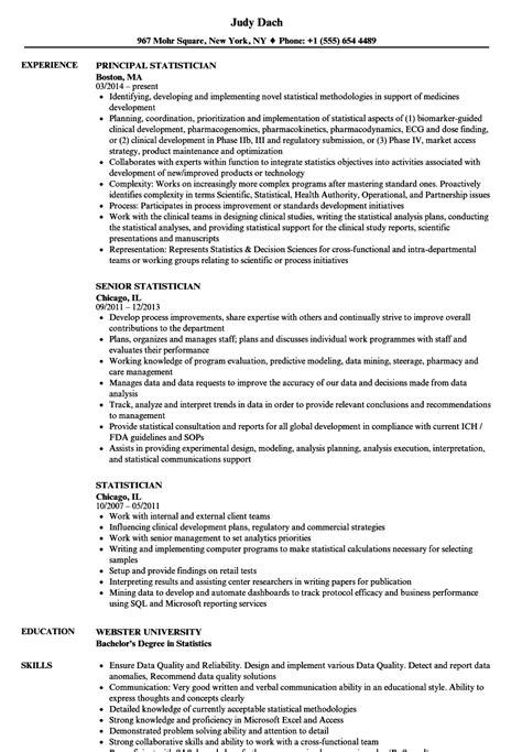 Resume Statistics by Statistician Resume Sles Velvet