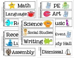 School Subject Labels Classroom