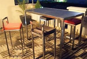 Table Metal Exterieur : table haute d 39 ext rieur en m tal moderne terrasse en ~ Teatrodelosmanantiales.com Idées de Décoration