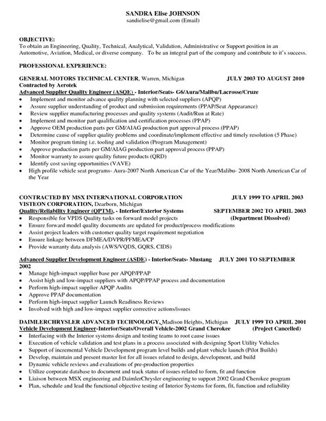ideas automotive quality engineer resume  contract