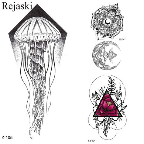 rejaski  black sketch jellyfish tattoo kid arm