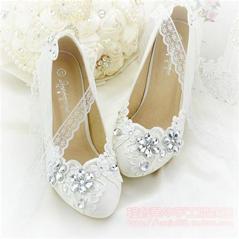 ivory flower applique rhinestone wedding shoes bead lace