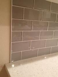 glass tile trim Smoke Glass Backsplash with Metal Edging | Kitchen! in 2019 | Subway tile backsplash, Wood ...