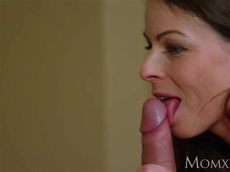 Mom Brunette Milf Trades Sloppy Blowjob For Creampie From