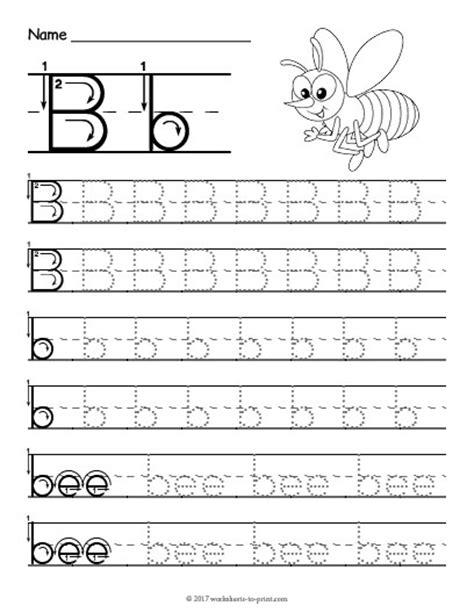 tracing letter b worksheet