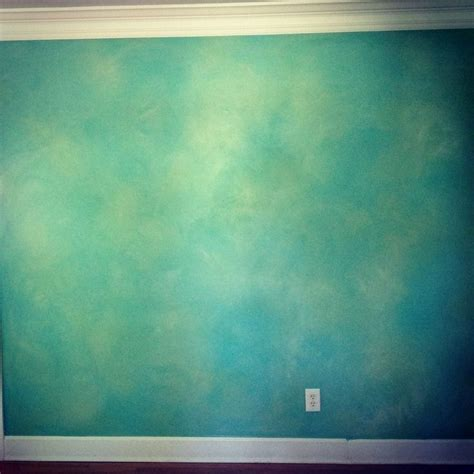 turquoise green blue and grey faux paintings