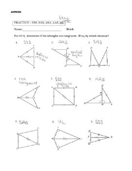 geometry worksheet congruent triangles asa  aas answers