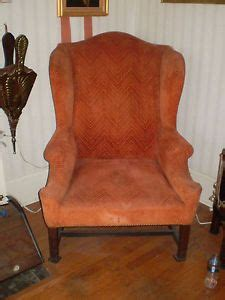 antique chippendale hair stuffed wing back chair on