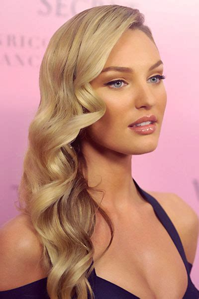 hair curled to the side styles candice swanepoel s side swept curly hairstyle prom