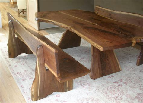 live edge black walnut dining table black walnut live edge table and benches contemporary