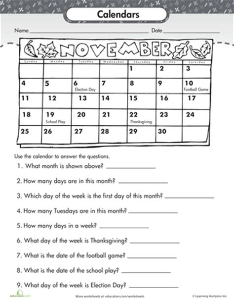 worksheets reading a calendar 2nd grade worksheets