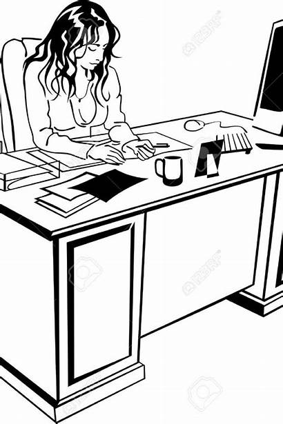 Computer Desk Drawing Working Young Getdrawings