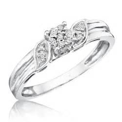 womens engagement rings 1 10 carat t w 39 s engagement ring 10k white gold my trio rings bt133w10ke