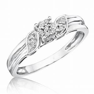 1 1 10 carat tw diamond women s engagement ring 10k With wedding rings for women white gold