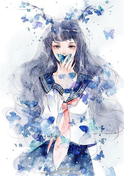 watercolor anime lost butterfly 清茗 原创 插画 水彩 小清新 涂鸦王国插画