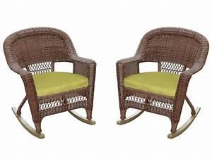 Set, Of, 2, Honey, Brown, Resin, Wicker, Outdoor, Patio, Rocker, Chairs, -, Green, Cushions