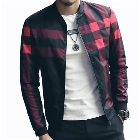 Hotsale Plaid Jacket Men Bomber Jacket Fashion Slim Mens ...