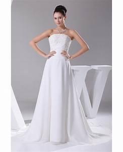 a line long chiffon beaded lace wedding dress with train With beaded lace wedding dress