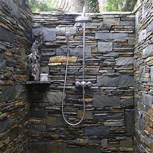 Bathroom beautiful outdoor shower with natural decor and