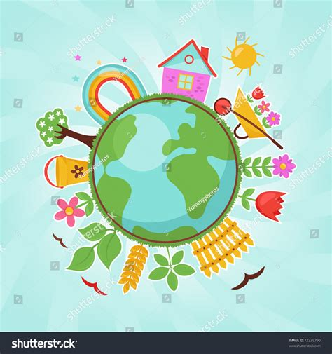 green planet spring illustration stock vector
