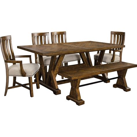 trestle table and chairs broyhill furniture pieceworks trestle table and