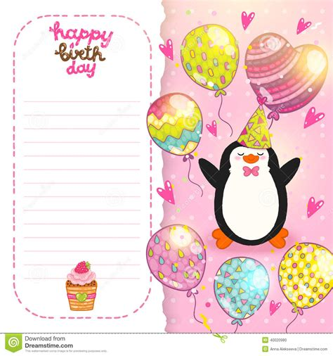 happy birthday card background  cute penguin stock